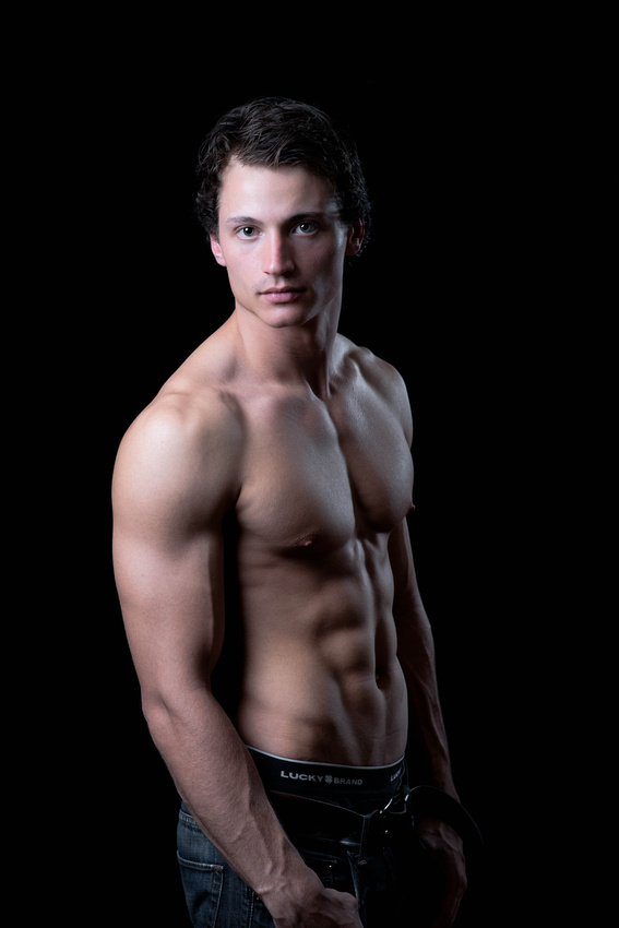 Fashion model portrait of man standing without shirt. Johnstown pa fashion photography.