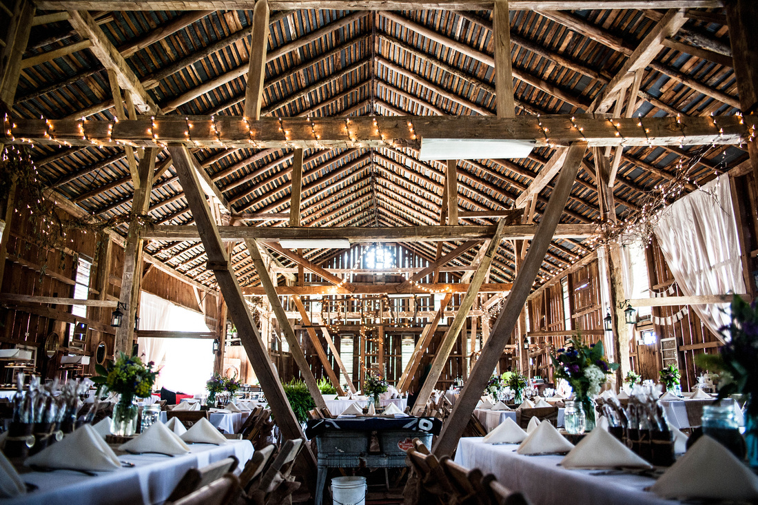 Wedding reception in barn. Somerset PA wedding photography.