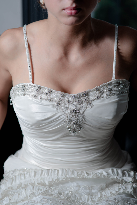 View of bride and gown. Johnstown PA wedding photographer.