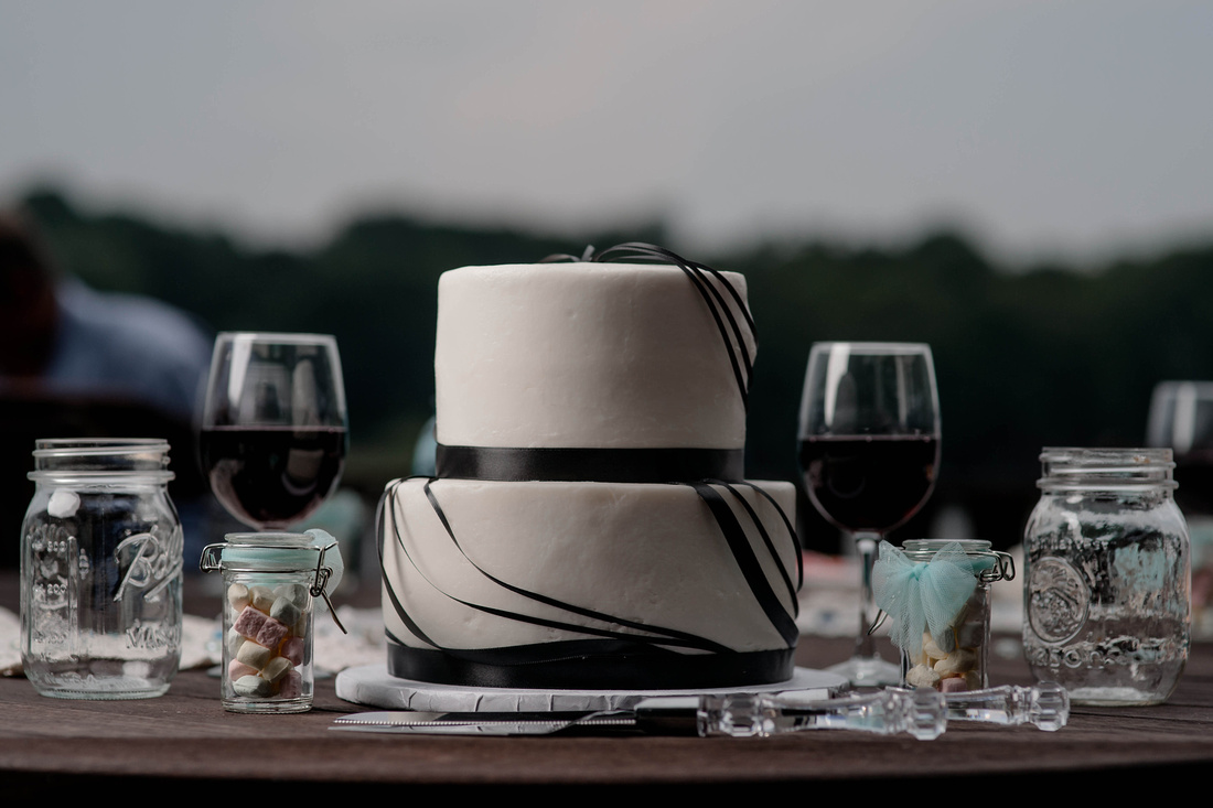 Portrait of wedding cake. Johnstown PA wedding photography.