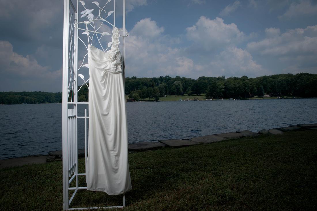 Portrait of wedding dress. Johnstown PA wedding photography.
