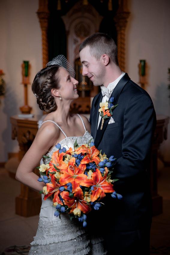 Formal wedding photograph of bride and groom. Johnstown PA wedding photographer.