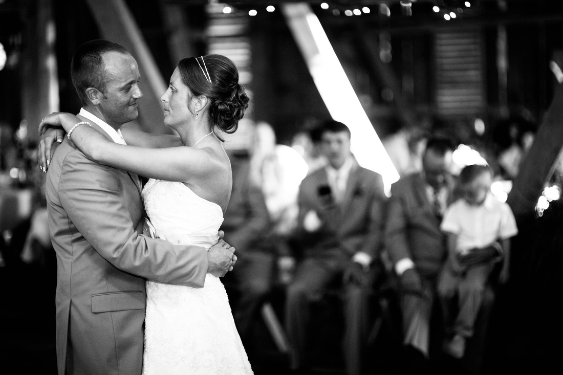 Bride dancing with groom for first dance. Somerset PA wedding photography.