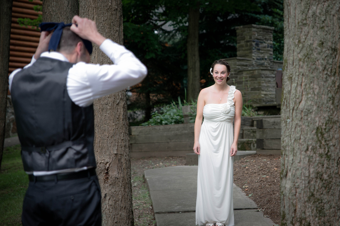First look. Bride sees groom for first time. Johnstown PA wedding photography.